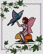 Gráfico de punto de cruz para descargar GRATIS en PDF, imprimir y bordar hada con mariposa
