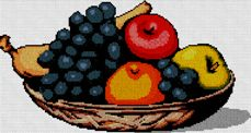 Gráfico de punto de cruz para desargar GRATIS en PDF, imprimir y bordar cesta de frutas