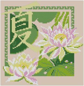 Gráfico de punto de cruz para descargar GRATIS en PDF, imprimir y bordar flores de loto con letras chinas