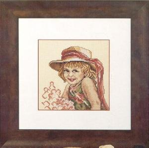 Gráfico de punto de cruz para descargar GRATIS en PDF, imprimir y bordar dibujo de niña con sombrero