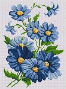 Gráfico de punto de cruz para descargar GRATIS en PDF, imprimir y bordar ramillete de flores azules