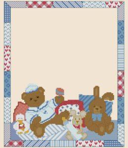 Esquema de punto de cruz para descargar GRATIS en PDF, imprimir y bordar natalicio ó recuerdo de nacimiento