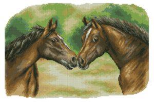Gráfico de punto de cruz para descargar en PDF, imprimir y bordar dibujo de caballos