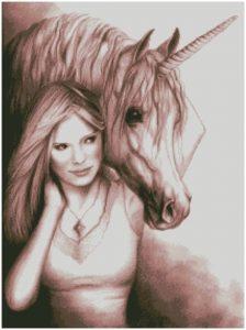 Gráfico de punto de cruz para descargar en PDF, imprimir y bordar dibujo de Unicornio y mujer