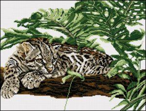 Gráfico de punto de cruz para descargar GRATIS en PDF, imprimir y bordar dibujo de leopardo
