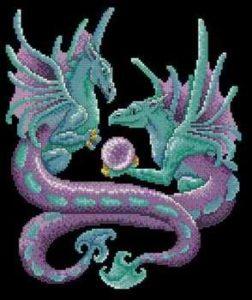 Gráfico de punto de cruz para descargar GRATIS en PDF, imprimir y bordar dibujo de fantasía con dos dragones