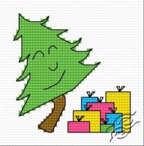 Gráfico de punto de cruz para descargar GRATIS en PDF, imprimir y bordar árbol de Navidad con regalos