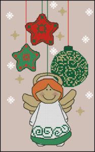 Gráfico de punto de cruz para descargar GRATIS en PDF, imprimir y bordar ángel de Navidad
