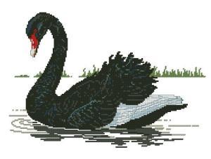 Gráfico de punto de cruz para descargar GRATIS en PDF, imprimir y bordar cisne negro