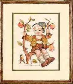 Gráfico de punto de cruz para descargar GRATIS en PDF, imprimir y bordar dibujo de niño en árbol