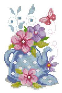 Gráfico de punto de cruz para descargar GRATIS en PDF, imprimir y bordar tetera, flores y mariposa