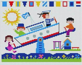 Gráfico de punto de cruz para descargar GRATIS en PDF, imprimir y bordar dibujo infantil con niños jugando en el parque