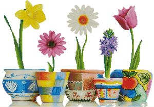 Gráfico de punto de cruz para descargar en PDF, imprimir y bordar varias macetas con plantas de flores