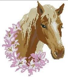 Gráfico de punto de cruz para descargar GRATIS en PDF, imprimir y bordar caballo coronado por flores