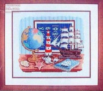 Gráfico de punto de cruz para descargar GRATIS en PDF, imprimir y bordar dibujo de objetos marinos: mapa mundi, faro, galeón, nudos, etc
