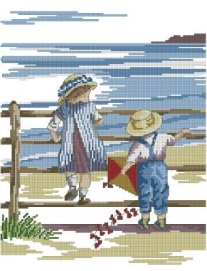 Gráfico de punto de cruz para descargar en PDF, imprimir y bordar dibujo infantil con niños y cometa en la playa