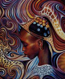 Gráfico de punto de cruz para descargar en PDF, imprimir y bordar mujer africana en colores