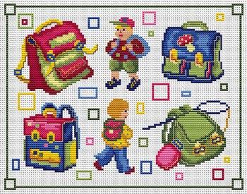 Gráfico de punto de cruz para descargar GRATIS en PDF, imprimir y bordar niños con mochilas de colegio