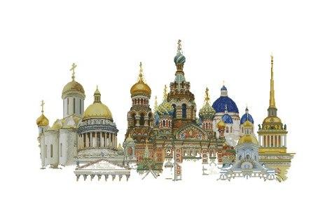 Gráfico de punto de cruz para descargar GRATIS en PDF, imprimir y bordar monumentos de San Petersburgo