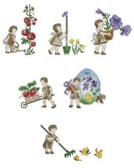 Gráfico de punto de cruz para descargar GRATIS en PDF, imprimir y bordar dibujo con niños cultivando