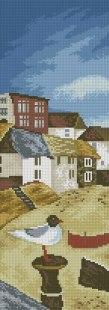 Gráfico de punto de cruz para descargar GRATIS en PDF, imprimir y bordar paisaje con gaviota y casas junto al mar