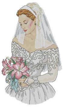 Gráfico de punto de cruz para descargar GRATIS en PDF, imprimir y bordar novia en su boda