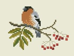 Gráfico de punto de cruz para descargar GRATIS en PDF, imprimir y bordar pajarito en rama de árbol