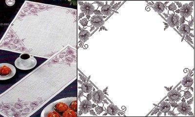 Gráfico de punto de cruz para descargar GRATIS en PDF, imprimir y bordar camino de mesa con flores