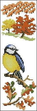 Gráfico de punto de cruz para descargar GRATIS en PDF, imprimir y bordar dibujo con pájaro en otoño