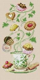 Gráfico de punto de cruz para descargar GRATIS en PDF, imprimir y bordar dibujo de té con pastas