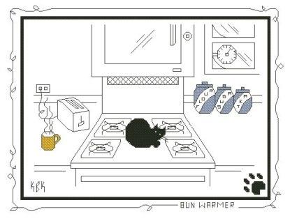 Gráfico de punto de cruz para descargar GRATIS en PDF, imprimir y bordar gato negro en cocina