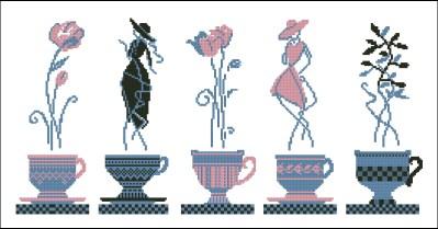 Gráfico de punto de cruz para descargar GRATIS en PDF, imprimir y bordar juego de tazas con damas y flores