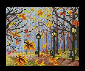 Gráfico de punto de cruz para descargar GRATIS en PDF, imprimir y bordar parque en otoño con farolas