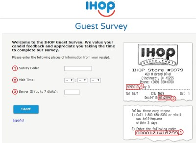 www.talktoihop.com survey homepage