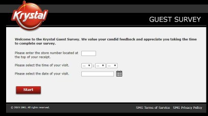 Krystal guest survey home page