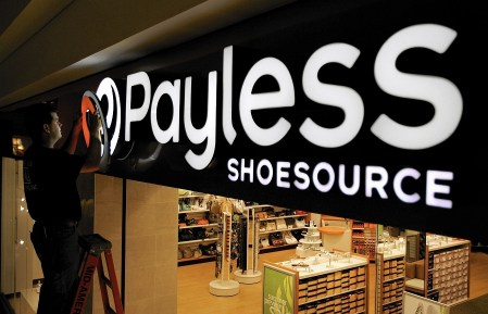 The entrance of payless shoe store
