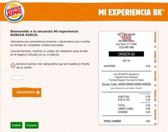 mybkexperience survey homeage in Spanish