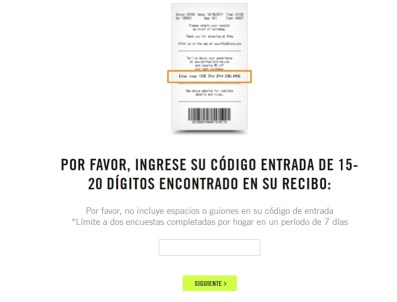 nike survey page in spanish
