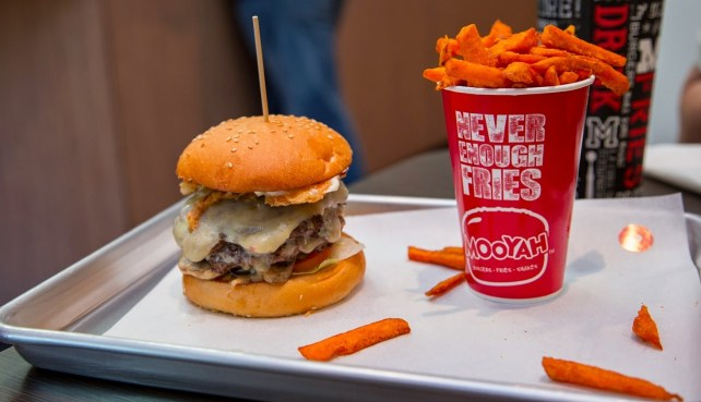 burger and fries in mooyah restaurant