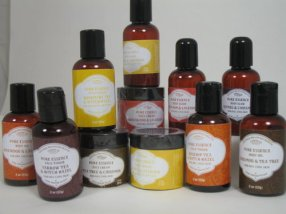 Pure essence skin care products are based on the principles of the elements earth, water, fire, and, air. They make 3 lines designed for different skin types and needs. Each of the 3 lines includes face cream, facial toner, body oil and body scrub.