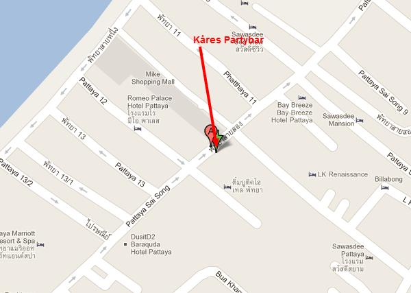Kart til Kåres Partybar