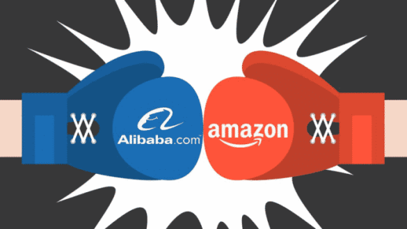 Amazon v Alibaba online shopping giants go head to head. Amazon v Alibaba online shopping giants go head to head. Chinese e-commerce giant