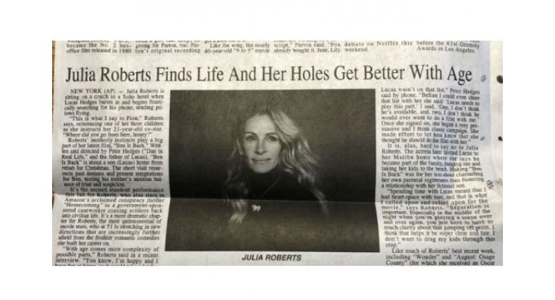 Headline typo on Julia Roberts article draws laughs, flak from readers