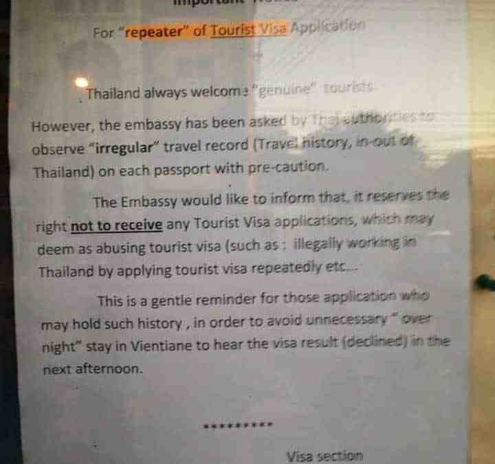 Thai Embassy in Vientiane issues warning to visa runners