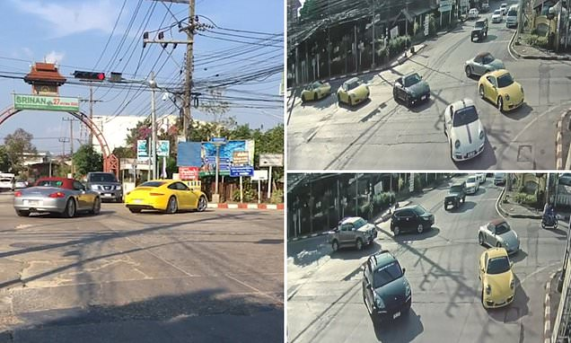 Video: Convoy Of 32 Porsches Jump Red Light