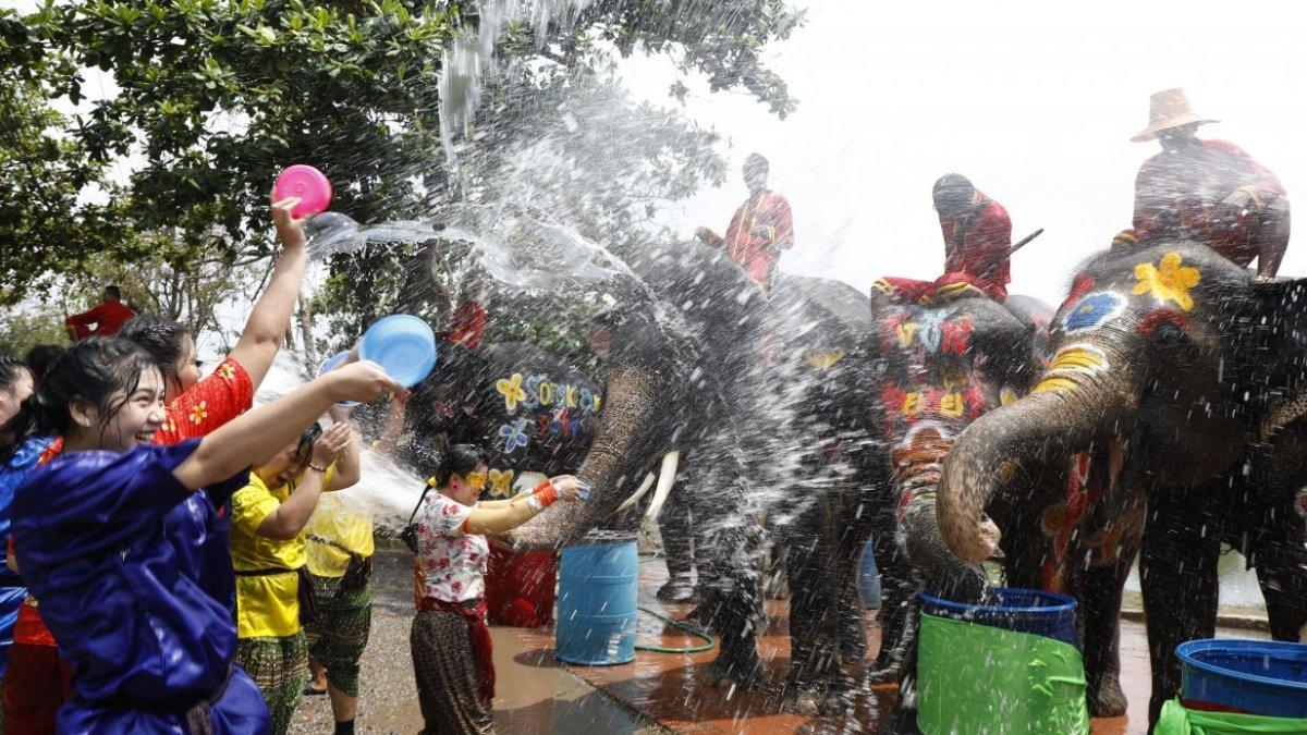 Water battles with elephants kick off festivities