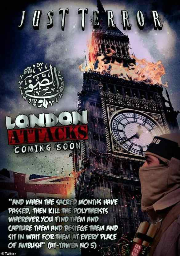 ISIS fanatics depict Big Ben on fire. ISIS fanatics depict Big Ben on fire as chilling posters warn of 'London attacks soon' and show knife-wielding suicide