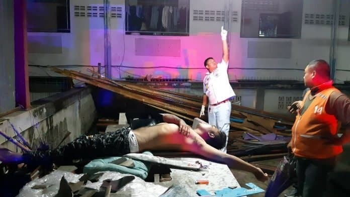 Mystery man falls through Pattaya car park roof. Rescue services and police were called to the Daraphan Apartment building in Sukhumvit Road Soi 42 after