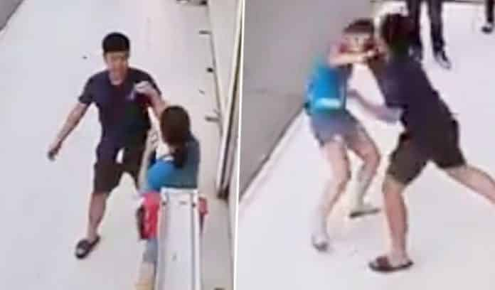 MAN'S ASSAULT ON EX-GF IN BROAD DAYLIGHT SHOCKS ONLOOKERS. CCTV footage showing a man assaulting his ex-girlfriend in public