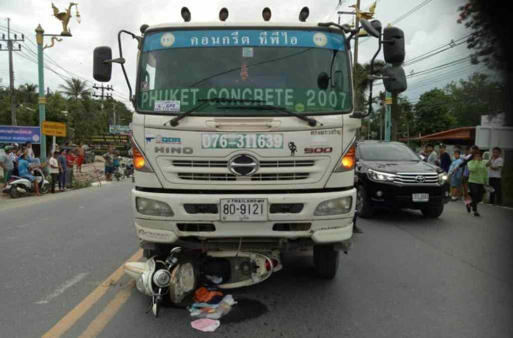 Motorcyclist crushed to death by cement truck in Thalang